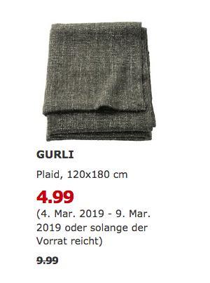 IKEA Magdeburg - GURLI Plaid, graugrün - jetzt 50% billiger