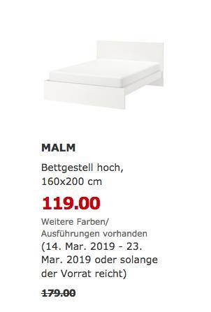 IKEA Magdeburg - MALM Bettgestell hoch, weiß, 160x200 cm - jetzt 34% billiger