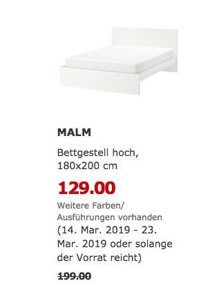 IKEA Magdeburg - MALM Bettgestell hoch, weiß, 180x200 cm - jetzt 35% billiger