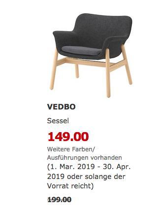 IKEA Mannheim - VEDBO Sessel, Gunnared dunkelgrau - jetzt 25% billiger