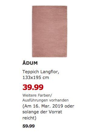 IKEARegensburg - ADUM Teppich Langflor, 133x195 cm,hell braunrosa - jetzt 33% billiger