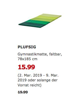 IKEARegensburg - PLUFSIG Gymnastikmatte, faltbar, grün, 78x185 cm - jetzt 20% billiger