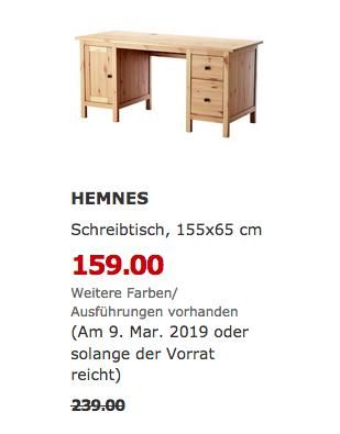 IKEA Saarlouis - HEMNES Schreibtisch, hellbraun, 155x65 cm - jetzt 33% billiger