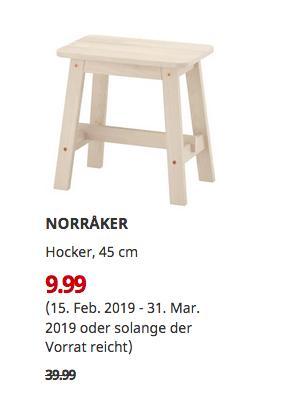 IKEA Saarlouis - NORRAKER Hocker, weiß Birke, 45 cm - jetzt 75% billiger