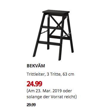 IKEA Siegen - BEKVÄM Trittleiter, 3 Tritte, schwarz, 63 cm - jetzt 17% billiger