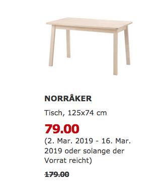 IKEA Freiburg - NORRAKER Tisch, weiß Birke, 125x74 cm  - jetzt 56% billiger