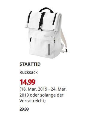 IKEA Würzburg - STARTTID Rucksack, elfenbeinweiß, 28x61x15 cm - jetzt 50% billiger
