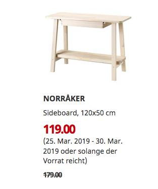 IKEA Walldorf - NORRAKER Sideboard, Birke, 120x50 cm - jetzt 34% billiger