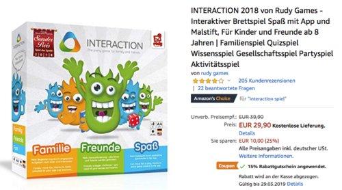 INTERACTION 2018 von Rudy Games - Interaktiver Brettspiel mit App und Malstift - jetzt 15% billiger