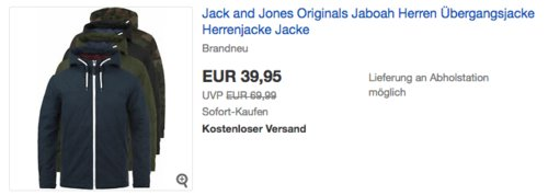 "Jack and Jones Originals ""Jaboah"" Herren Übergangsjacke mit Kapuze - jetzt 27% billiger"