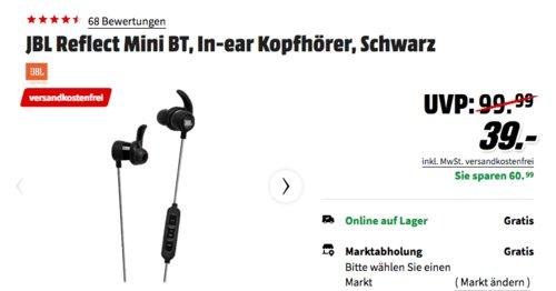 JBL Reflect Mini BT In-ear Kopfhörer, schwarz - jetzt 22% billiger