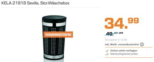 KELA 21818 Sevilla Sitz-Wäschebox, 60,5 cm hoch, schwarz - jetzt 13% billiger