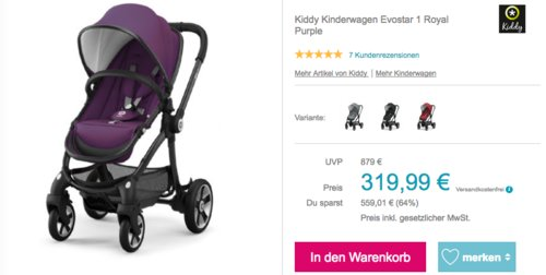 "Kiddy Kinderwagen Evostar 1 ""Royal Purple"" - jetzt 27% billiger"