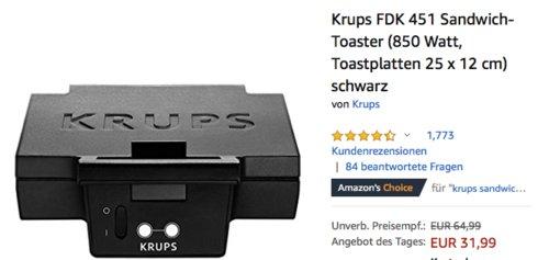 Krups FDK 451 Sandwichtoaster/Sandwichmaker, 850 Watt - jetzt 20% billiger