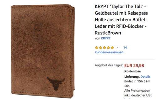 """KRYPT """"Taylor The Tall"""" – Geldbeutel mit Reisepass Hülle aus echtem Büffel-Leder mit RFID-Blocker - jetzt 25% billiger"""