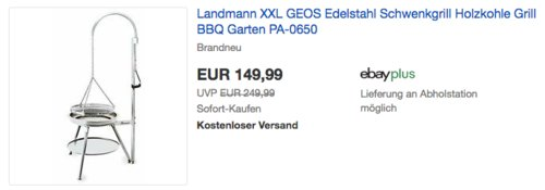 Landmann XXL GEOS Holzkohle-Schwenkgrill aus Edelstahl, 88 x 84 x 184 cm - jetzt 6% billiger