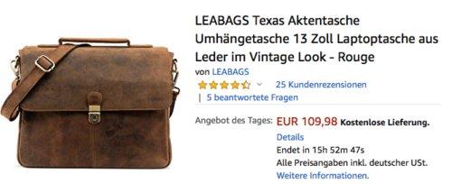 LEABAGS Texas Aktentasche Umhängetasche/ 13 Zoll Laptoptasche aus Leder im Vintage Look - Rouge - jetzt 21% billiger