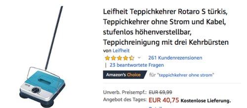 Leifheit Teppichkehrer Rotaro S, türkis - jetzt 32% billiger