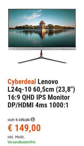 "Lenovo L24q-10 60,5cm (23,8"") QHD IPS Monitor - jetzt 21% billiger"
