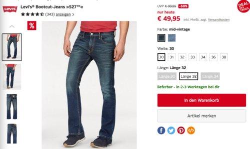 "Levi's® Herren Bootcut-Jeans ""527™"", pulley oder mid-vintage - jetzt 19% billiger"
