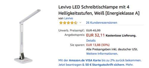 Levivo LED Schreibtischlampe mit 4 Helligkeitsstufen, weiß - jetzt 30% billiger