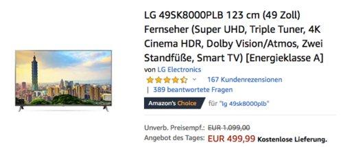 LG 49SK8000PLB 123 cm (49 Zoll) 4K-Fernseher - jetzt 12% billiger