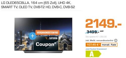 LG OLED65C8LLA 164 cm (65 Zoll) 4K OLED-Fernseher inkl. 300€ Coupon - jetzt 12% billiger