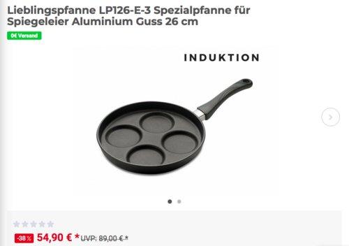 Lieblingspfanne LP126-E-3 Spezialpfanne für Spiegeleier, Aluminium Guss 26 cm - jetzt 31% billiger