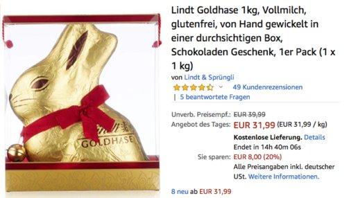 Lindt Goldhase 1kg, Vollmilch, in Box - jetzt 12% billiger
