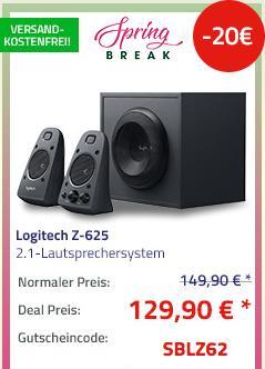 Logitech Z-625 2.1-Lautsprechersystem mit Subwoofer, THX, 200 Watt RMS - jetzt 13% billiger