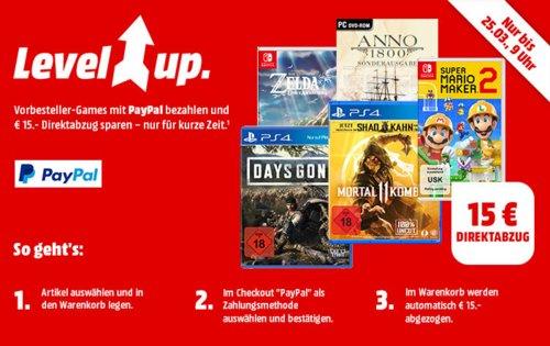 MediaMarkt-  15€ Rabatt bei Zahlung mit Paypal auf ausgewählteVorbesteller-Gam: z.B. Yoshi's Crafted World [Nintendo Switch] - jetzt 25% billiger