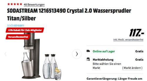 MediaMarkt:  bis 15% Rabatt für alle MediaMarktClub-Mitglieder: z.B.  SODASTREAM Crystal 2.0 Wassersprudler inkl. 3x0.6-Liter Glaskaraffen - jetzt 15% billiger