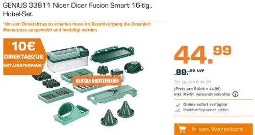 MediaMarkt - bis zu 15€ Rabatt bei Zahlung mit Masterpass: z.B.GENIUS 33811 Nicer Dicer Fusion Smart 16-tlg., Hobel-Set - jetzt 22% billiger