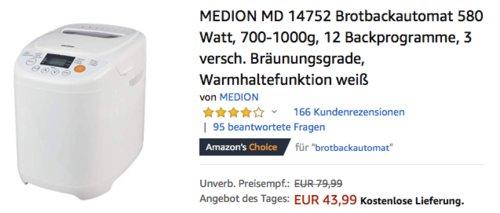 MEDION MD 14752 Brotbackautomat, 700-1000g - jetzt 20% billiger
