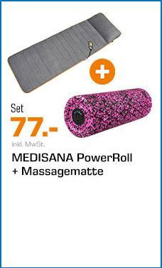 MEDISANA MM 825 Massageauflage inkl.MEDISANA PowerRoll XT Ultrasoft Faszienrolle - jetzt 43% billiger