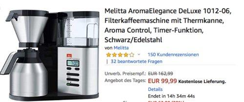 Melitta AromaElegance DeLuxe 1012-06 Filterkaffeemaschine mit Thermkanne - jetzt 24% billiger