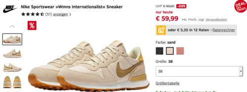 "Nike Damen Sneaker ""Wmns Internationalist"" - jetzt 13% billiger"