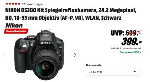 NIKON D5300 Spiegelreflexkamera inkl. 18-55 mm Objektiv (AF-P, VR) - jetzt 19% billiger