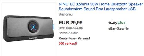 NINETEC Xoomia Bluetooth-Lautsprecher, 2X passiver Subwoofer, 2X 15W Lautsprecher - jetzt 62% billiger