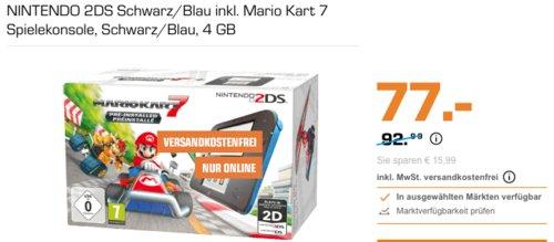 NINTENDO 2DS Schwarz/Blau inkl. Mario Kart 7 Spielekonsole, 4 GB - jetzt 14% billiger