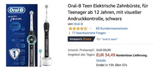 Oral-B Teen Elektrische Zahnbürste für Teenager, schwarz - jetzt 28% billiger