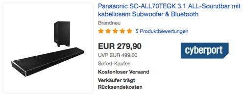 Panasonic SC-ALL70TEGK 3.1 Soundbar mit kabellosem Subwoofer - jetzt 13% billiger