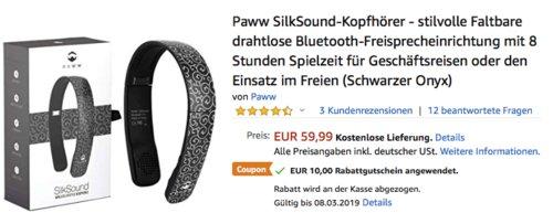 Paww faltbarer SilkSound-Kopfhörer, versch. Farben - jetzt 17% billiger