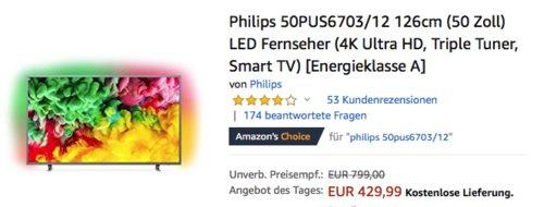 Philips 50PUS6703/12 126cm (50 Zoll) 4K UHD Fernseher mit 3-seitigem Ambilight - jetzt 3% billiger