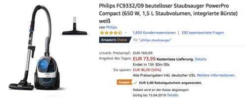 Philips FC9332/09 beutelloser Staubsauger PowerPro Compact, weiß - jetzt 19% billiger