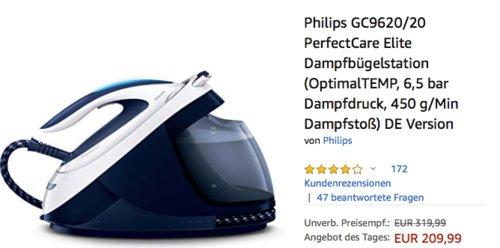 Philips GC9620/20 PerfectCare Elite Dampfbügelstation,  450 g/Min Dampfstoß - jetzt 19% billiger