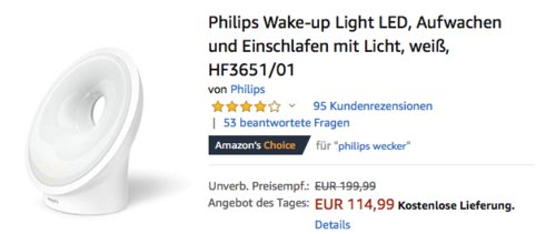 Philips HF3651/01 Wake-up Light LED Wecker, weiß - jetzt 26% billiger
