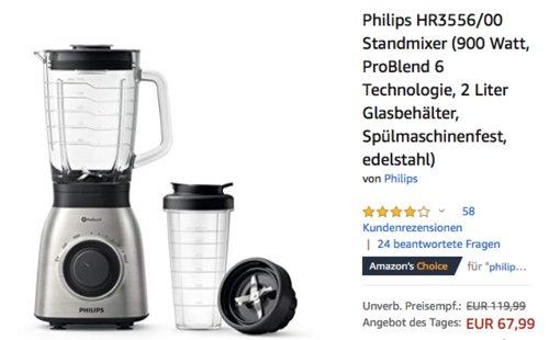 Philips HR3556/00 Standmixer, 900 Watt, 2 Liter Glasbehälter - jetzt 21% billiger