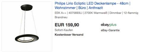 Philips Lirio Ecliptic LED Deckenlampe - 48cm, 2700K - jetzt 47% billiger