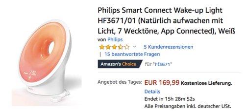 Philips Smart Connect Wake-up Light Tageslichtwecker HF3671/01 - jetzt 15% billiger